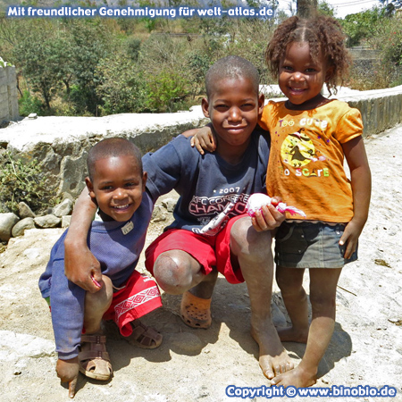 Children in the village of Rui Vaz in the heart of Santiago, Cape Verde
