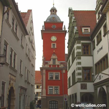Gotha, Rathaus auf dem Hauptmarkt, Renaissancebau, herrlicher Blick vom Turm auf die Gothaer Altstadt