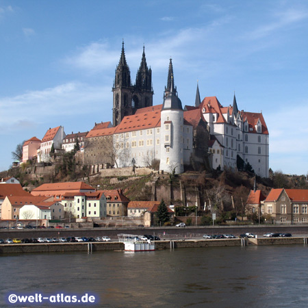 Albrechtsburg and Cathedral of Meissen, river Elbe
