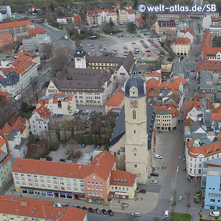 View from Jentower to the city church of St. Michael and the city center of Jena
