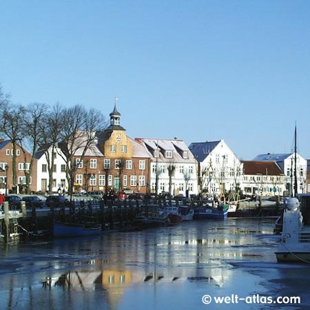 Tönninger Hafen im Winter, Eider