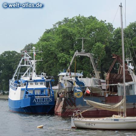 Fischerboote im Hafen von Dziwnów, an der Dziwna