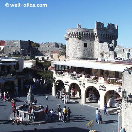 Rhodos Stadt, Platia Ippokratous in der Altstadt
