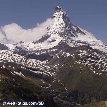 Blick auf den Gipfel des Matterhorn, Schweiz