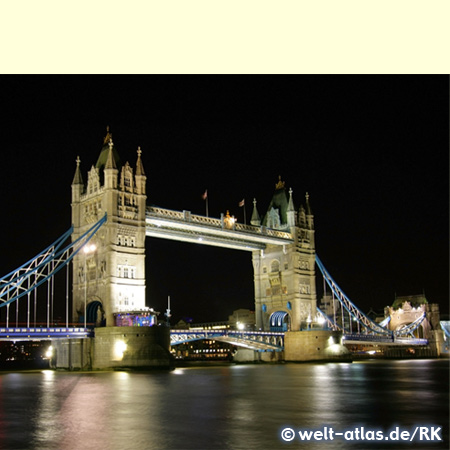 The Tower Bridge across the River Thames in the historic center of London, one of the tourist attractions