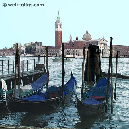 Gondeln in Venedig, Blick auf San Giorgio Maggiore
