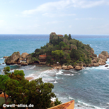 View of Isola Bella, the Pearl of the Ionian Sea, small island near Taormina