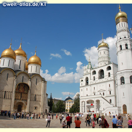 The Cathedrals in the Kremlin includes the Assumption Cathedral and to the right the Archangel Cathedral and Ivan the Great Bell Tower