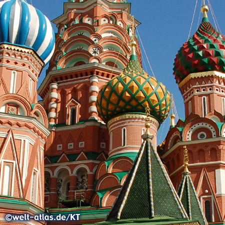 Landmark of Moscow are the colorful domes and towers of St Basil's Cathedral on Red Square, each of the nine main cupolas stands for one of the individual churches of the Cathedral, UNESCO World Heritage Site
