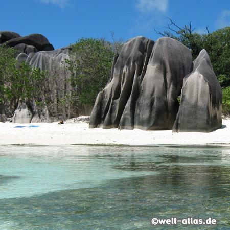 Granitfelsen der Anse Source d´Argent, einer der Traumstrände der Seychellen