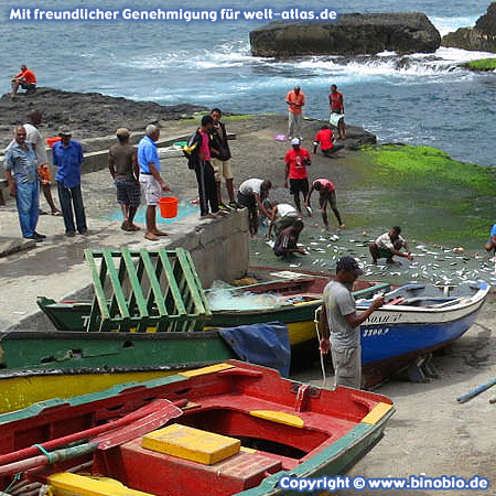 Fishermen and boats at the Ponta do Sol on the island of Santo Antao, Cape Verde