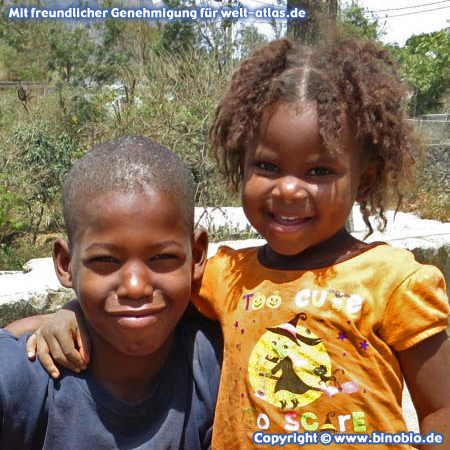 Little girl and boy in the mountain village of Rui Vaz in the heart of Santiago, Cape Verde