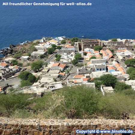 View from the Fort Sao Filipe in Cidade Velha, the old capital of Cape Verde on Santiago Island, a UNESCO World Heritage Site