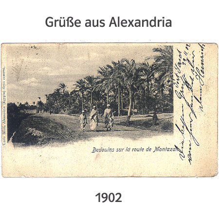 old Postcard, 1902(Bedouins sur la route de Montazah -Bedouins on the road to Montazah)