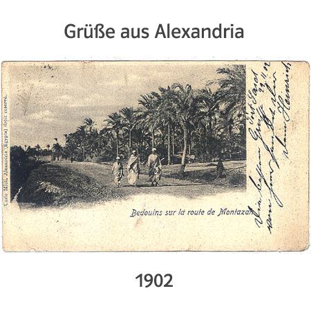 alte Postkarte aus Alexandria, 1902 aus dem Hafen Port Saidgeschickt (Bedouins sur la route de Montazah - Beduinen auf dem Weg nach Montazah)