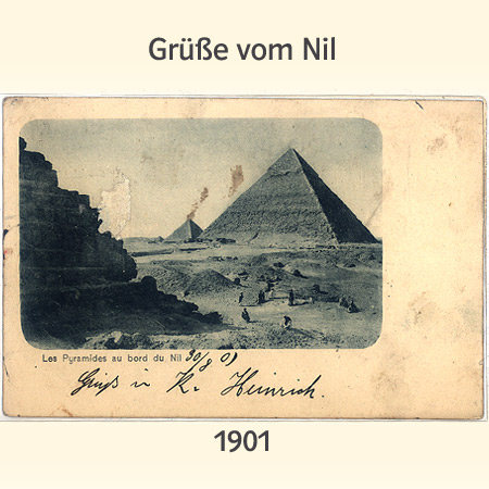 alte Postkarte, Pyramiden(Les Pyramides au bord du Nil -Die Pyramiden am Nil)