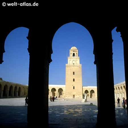 Minaret and Courtyard  of the Great Mosque of Kairouan, Tunisia