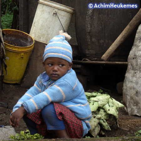 Child, village near Mount Kilimanjaro in Tanzania, picture taken by Achim Heukemes, a German Ultra Runner