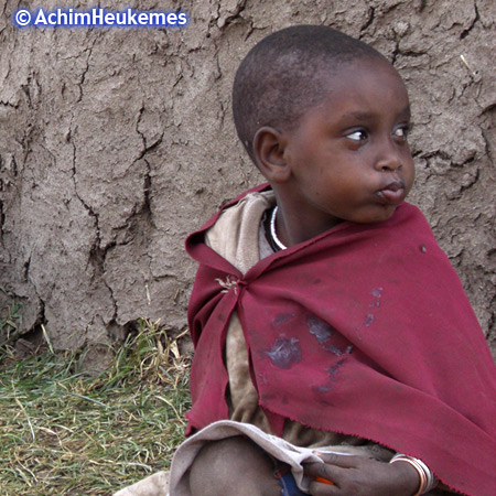 Massai Child in the Ngorongoro Crater in Tanzania, picture taken by Achim Heukemes, a German Ultra Runner