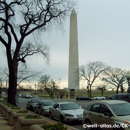 The Washington Monument, obelisk near the west end of the National Mall