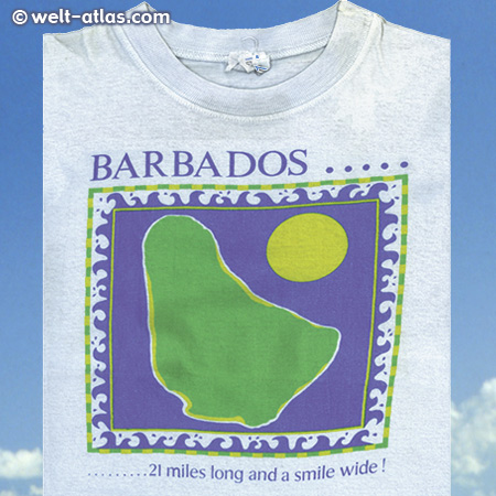 das alte T-Shirt von Barbadosmit dem Aufdruck:  21 miles long and a smile wide!