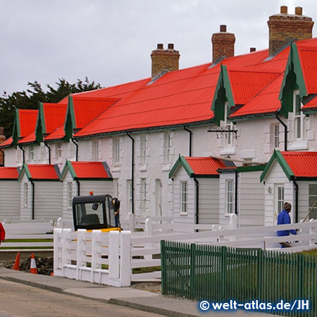 Typische Häuser in Stanley, Hauptstadt der Falklandinseln