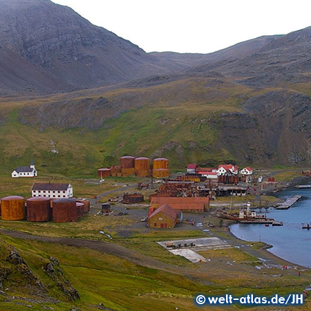 View of Grytviken Harbour with shipwreck and Whalers Church, South Georgia