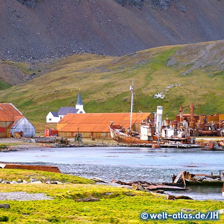 Shipwreck and Whalers Church, Grytviken Harbour, South Georgia