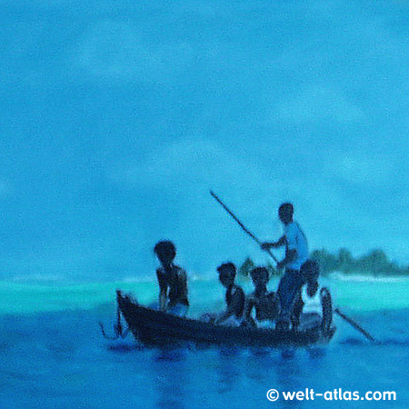 Malediven, junge Fischer im Boot, Pastell-Zeichnung