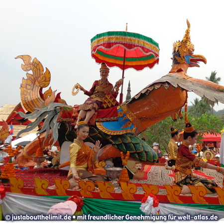 Miss Lao with mythological bird at the big parade, Buddhist New Year in Luang Prabang