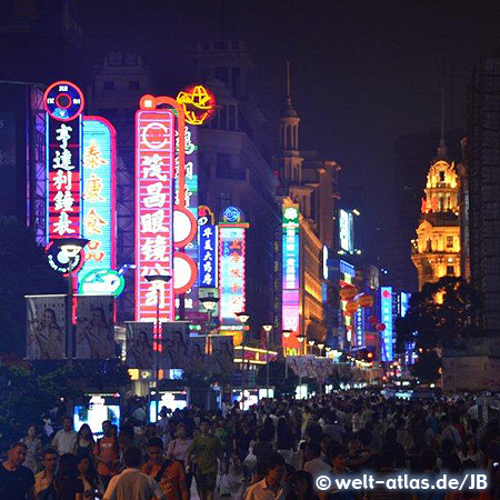 Nanjing Road at night, main shopping street of Shanghai, China