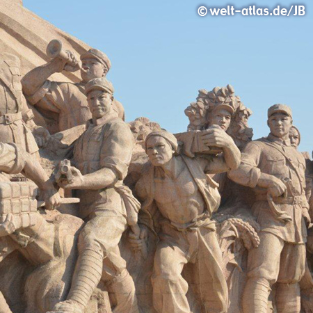 Sculptures at Monument to People's Heroes in Tian an Men Square, Beijing