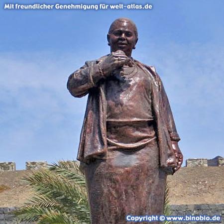 International Airport of São Vicente, statue of the famous Cape Verdean singer Cesaria Evora