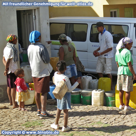 Water distribution in Pico da Cruz on the island of Santo Antao, Cape Verde
