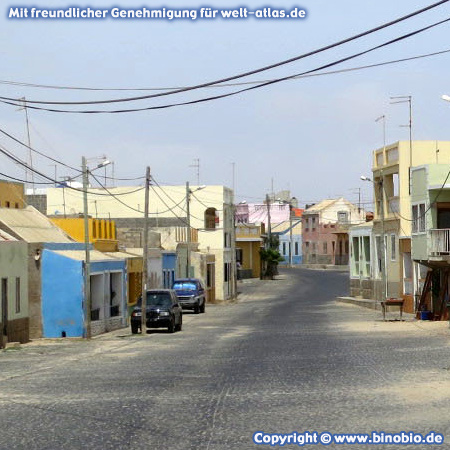 Sleepy street in Rabil, the former capital of the island of Boa Vista, Cape Verde