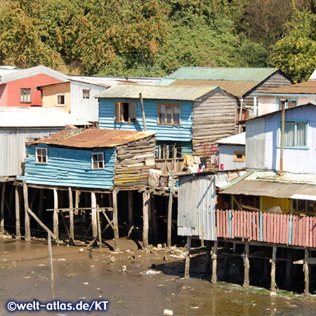 Palafitos in Castro, wooden houses on stilts on Chiloé Island