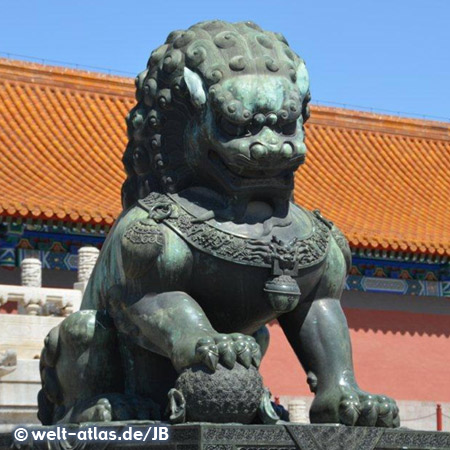 Löwenstatue in der Verbotenen Stadt, Peking