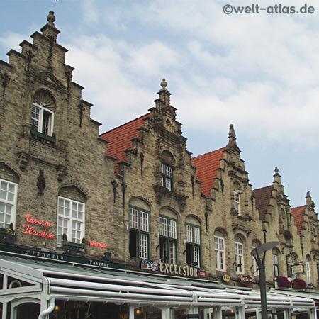 Stepped gables on the market square in Veurne, Belgium