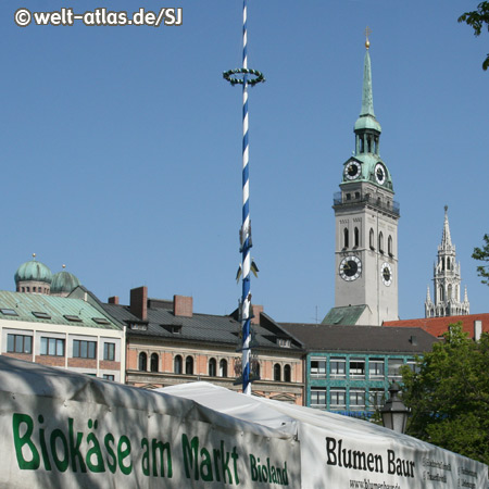 The Viktualienmarkt, Munich's most popular market for fresh and fine food
