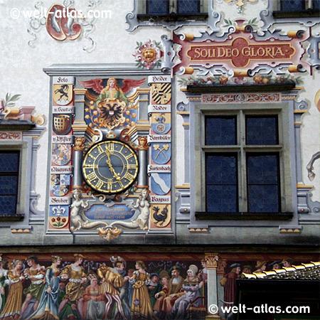 Altes Rathaus von Lindau, Detailansicht der Fassade, Treppengiebel im Renaissance-Stil