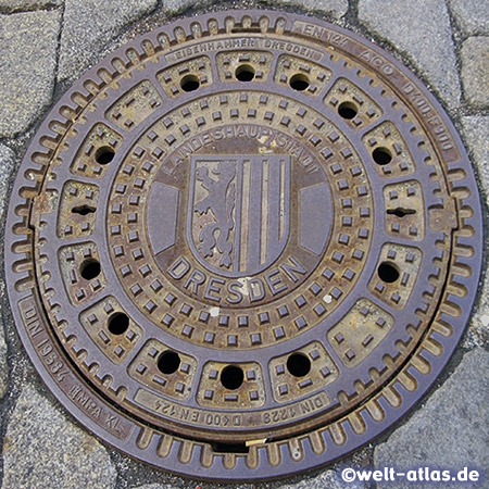 Manhole cover in Dresden with Coat of Arms, Saxony