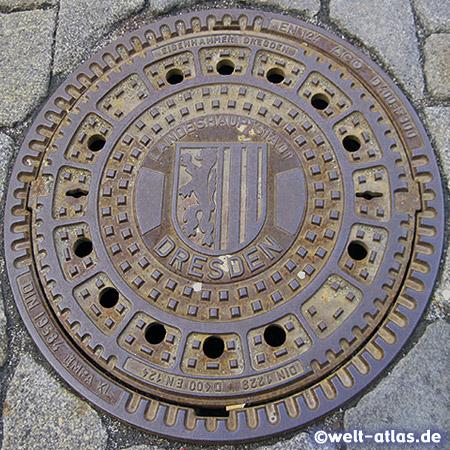 Sieldeckel mit dem Wappen der sächsischen Landeshauptstadt Dresden