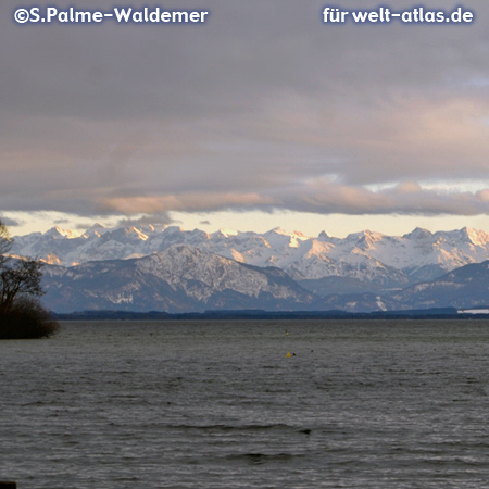 Lake Starnberg and the mountains of the bavarian Alps
