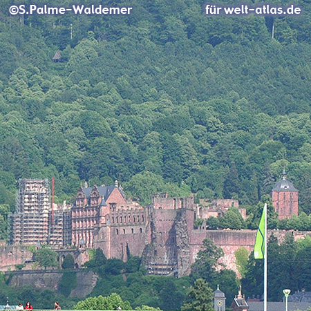 Landmark of Heidelberg, the famous castle ruin
