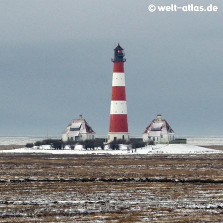 Westerhever Leuchtturm im Winter,WesterheversandPosition: 54° 22,5′ N / 08° 38,5′ E