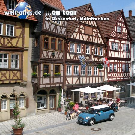 welt-atlas ON TOUR in Ochsenfurt,Fachwerkhäuser, Mainfranken, Bayern, Deutschland
