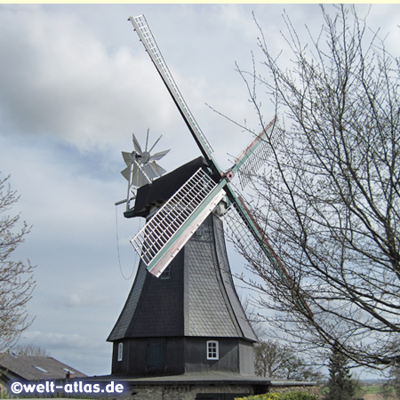 The historic dutch windmill Margaretha in Bergenhusen, the village of storks