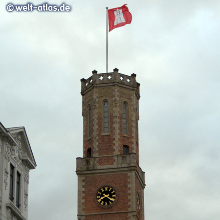 Clock on the tower of the Old Post Office in Hamburg, built in 1845-47 in the style of the Italian Renaissance