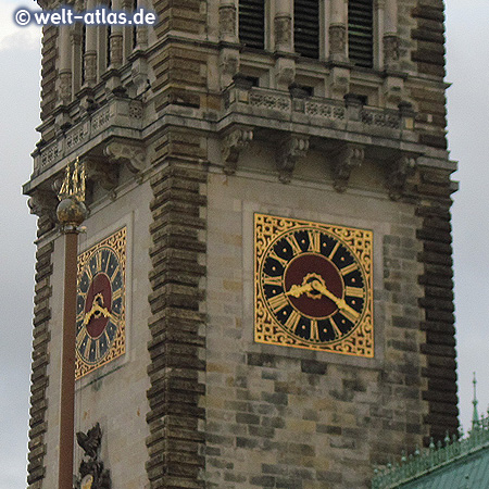 Clock Tower on City Hall of Hamburg