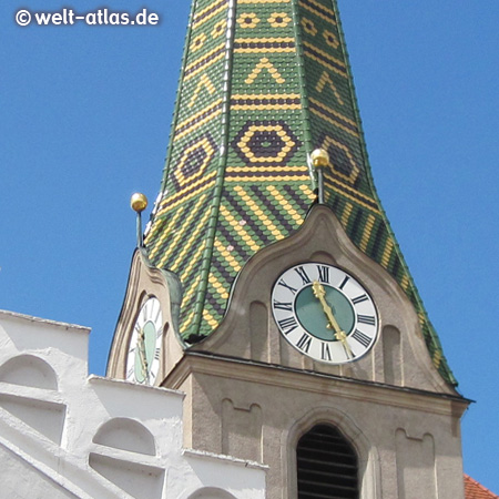 Clock on one of the towers of the parish church of St. Walburga in Beilngries